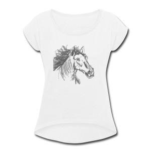 Horse - Women's Roll Cuff T-Shirt