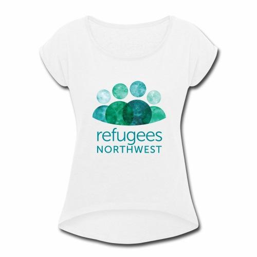 Refugees Northwest Logo Design - Women's Roll Cuff T-Shirt
