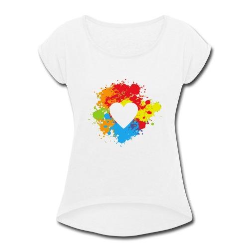 rainbow heart - Women's Roll Cuff T-Shirt