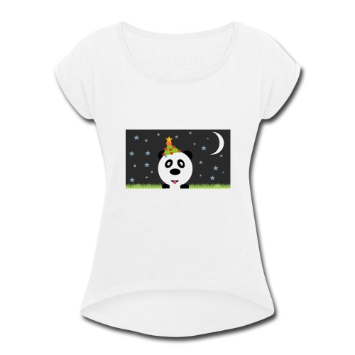 Panda Christmas - Women's Roll Cuff T-Shirt