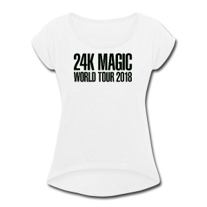 BRUNO MARS 24K MAGIC WORLD TOUR 2018 T-Shirt - Women's Roll Cuff T-Shirt