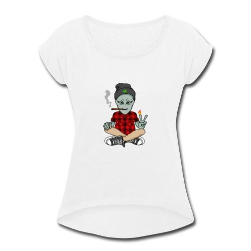 NUGZ THE ALIEN Mascot 4 TOO HIGH CLUB CLOTHING Co. - Women's Roll Cuff T-Shirt