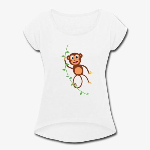 Funny Monkey Swinging On A Vine Merchandise - Women's Roll Cuff T-Shirt