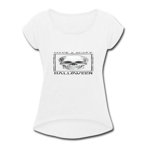 halloween skull - Women's Roll Cuff T-Shirt