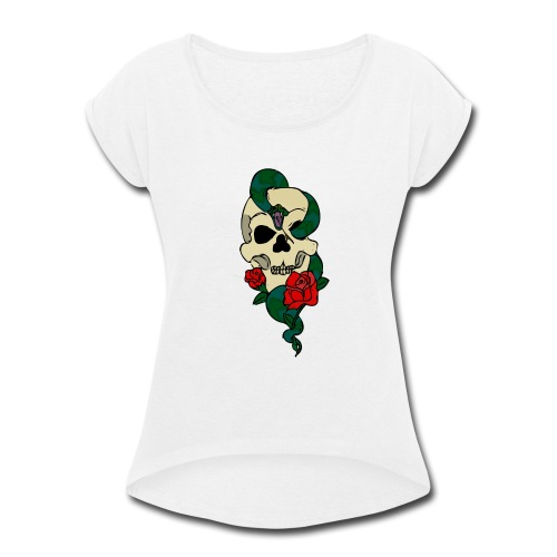 Skull and rose - Women's Roll Cuff T-Shirt