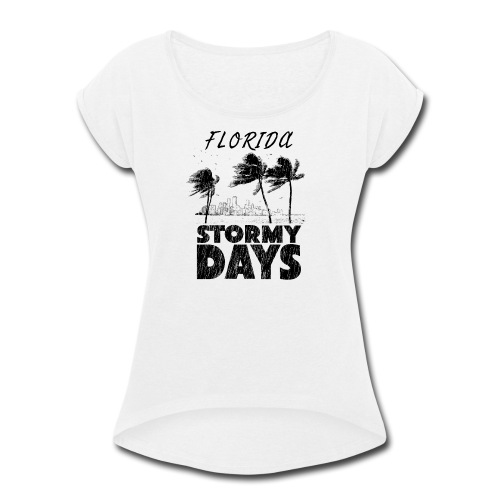 Florida Irma Hurricane Tornado Storm USA 2017 - Women's Roll Cuff T-Shirt