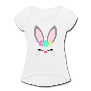 bunny unicorn - Women's Roll Cuff T-Shirt