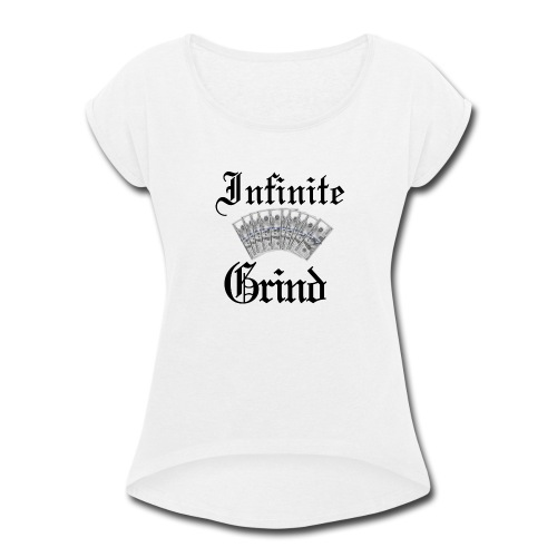 Infinite Bands Black ink - Women's Roll Cuff T-Shirt