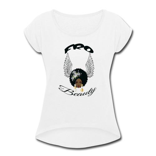 ron s angel wings girl - Women's Roll Cuff T-Shirt