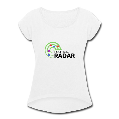Political Radar Logo - Black - Women's Roll Cuff T-Shirt
