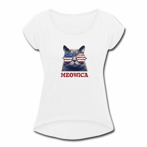 Meowica - Women's Roll Cuff T-Shirt