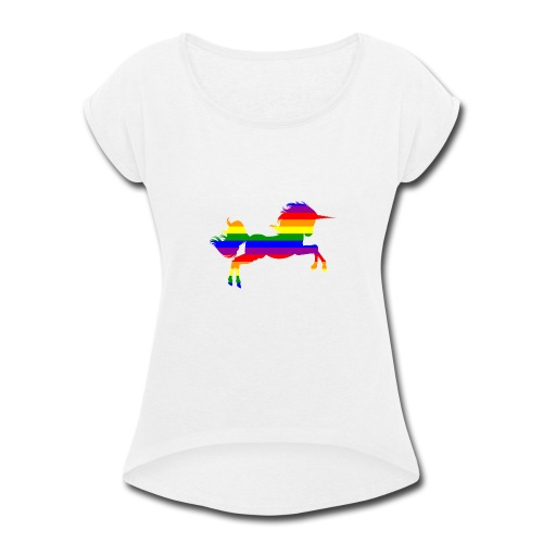 Unicorn in Rainbow Pride flag colors - Women's Roll Cuff T-Shirt