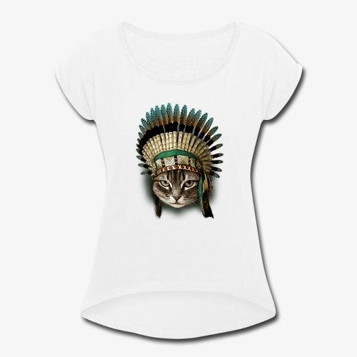 the chief cat - Women's Roll Cuff T-Shirt