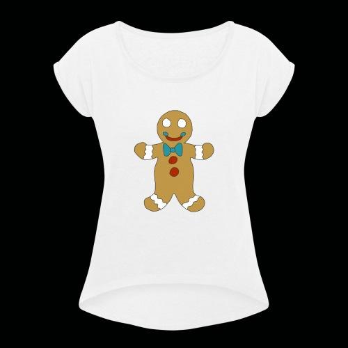 Gingerbread Man - Women's Roll Cuff T-Shirt