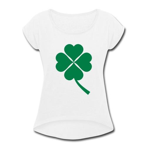 Green Four Leaf Clover - Women's Roll Cuff T-Shirt