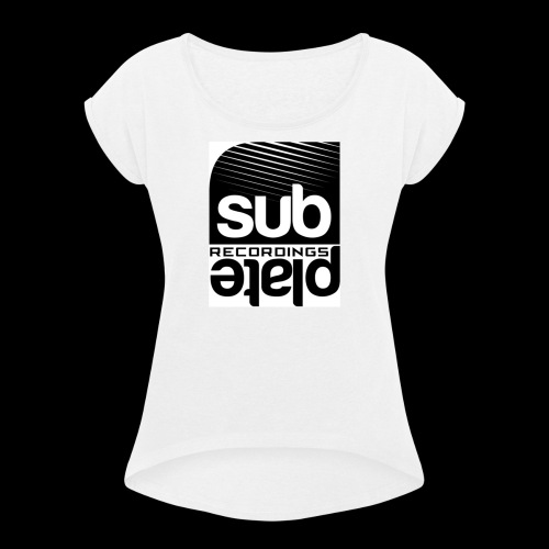 Subplate Recordings - Logo White - Women's Roll Cuff T-Shirt
