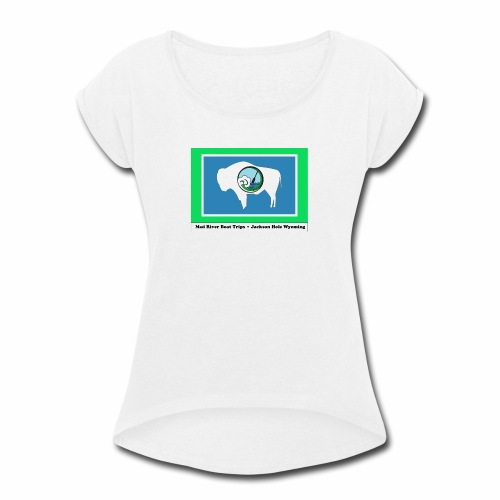 MAD RIVER WY FLAG - Women's Roll Cuff T-Shirt