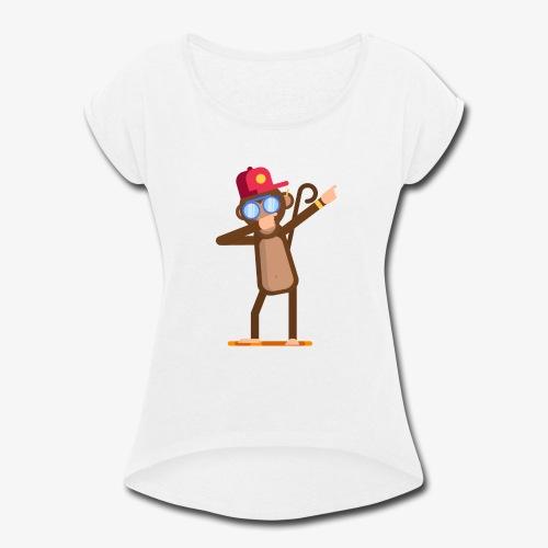Animal doing dabbing movement - monkey - Women's Roll Cuff T-Shirt