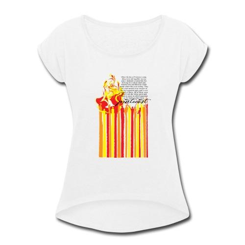 PENTECOST (for white T-shirt) - Women's Roll Cuff T-Shirt