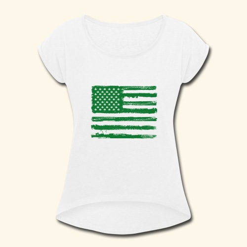Free Denizens Legalize It US Cannabis Flag - Women's Roll Cuff T-Shirt
