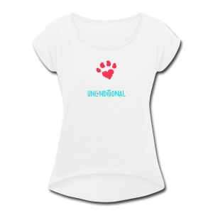 Project Unconditional Love Paw with Logo - Women's Roll Cuff T-Shirt