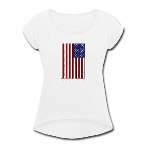 USA Flag (Distressed) - Women's Roll Cuff T-Shirt