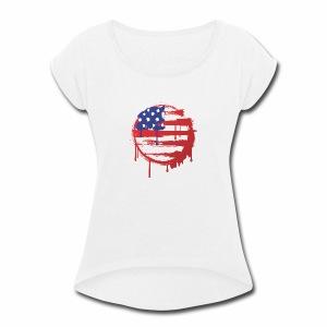 usa bleed - Women's Roll Cuff T-Shirt