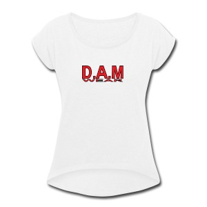 BIG RED D A M LETTERS - Women's Roll Cuff T-Shirt