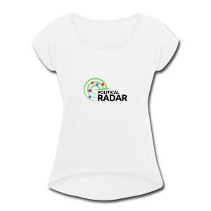 Political Radar Logo - Black - Women's Roll Cuff T-Shirt