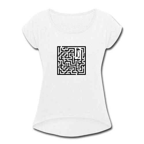 penguin Maze shirt - Women's Roll Cuff T-Shirt