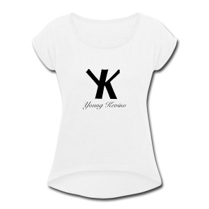 Young Kevino Official Logo (Black) - Women's Roll Cuff T-Shirt