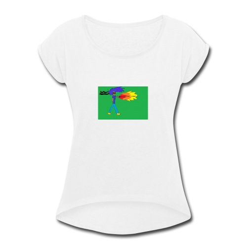 blazing_sky_katana - Women's Roll Cuff T-Shirt