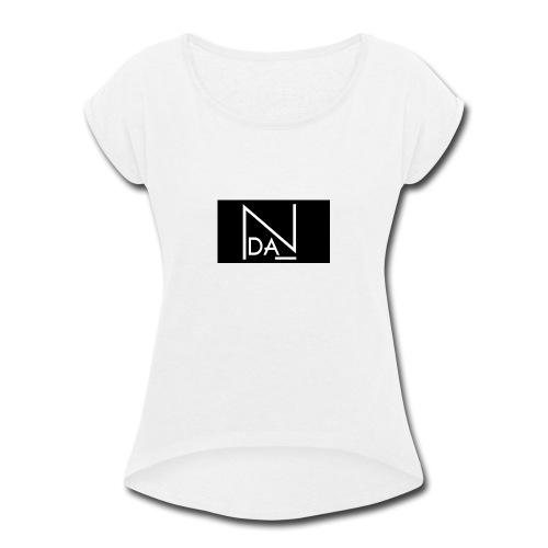 DAN Talent Group - BLACK BACK GROUND - Women's Roll Cuff T-Shirt