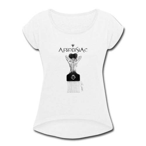 tshirtAfroArtD2 copy - Women's Roll Cuff T-Shirt