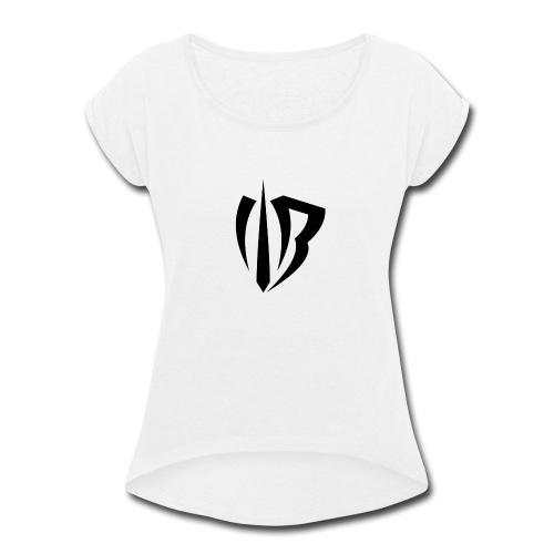 Winged Bandit Logo Black - Women's Roll Cuff T-Shirt