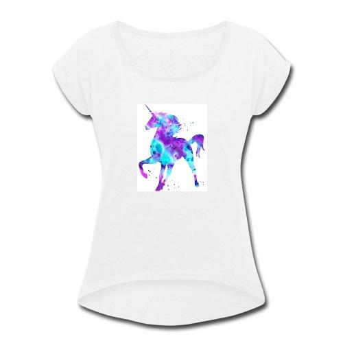 Purple & blue unicorn - Women's Roll Cuff T-Shirt