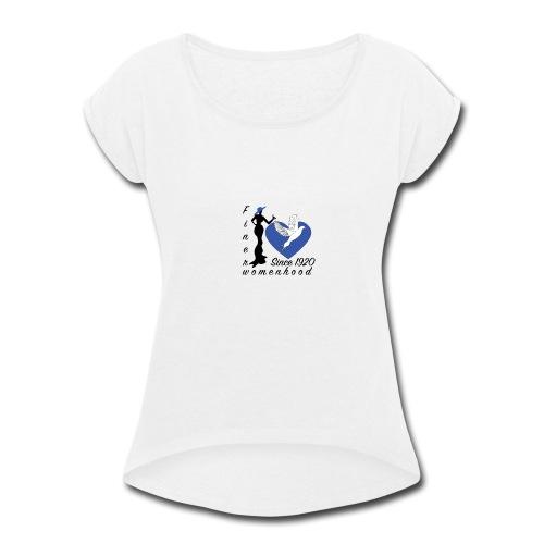 womenhoodblktext2 finerwomenhood - Women's Roll Cuff T-Shirt