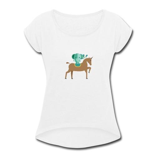 Unicorn and elephant - Women's Roll Cuff T-Shirt