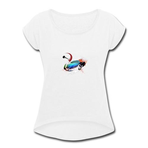 Car in motion - Women's Roll Cuff T-Shirt