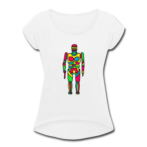Cartoon Robocop in Color - Women's Roll Cuff T-Shirt