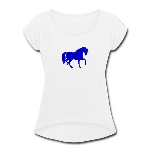 blue horse hoodie - Women's Roll Cuff T-Shirt