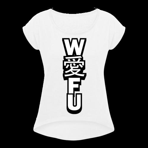 waifu_vertical - Women's Roll Cuff T-Shirt