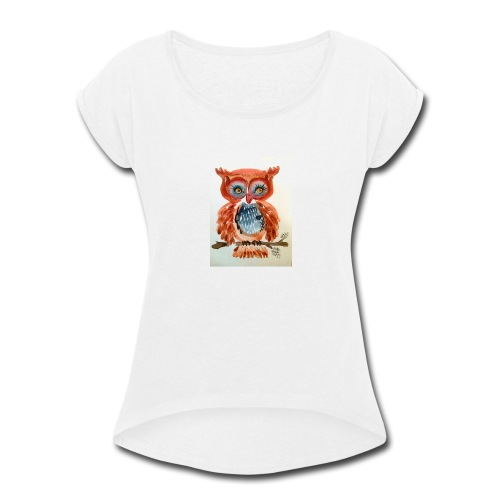 Ruby Woot Owl - Women's Roll Cuff T-Shirt