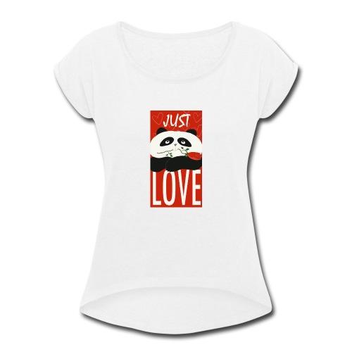 Panda Funny Romantic Cartoon Love Cute Flower - Women's Roll Cuff T-Shirt
