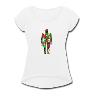 Cartoon Robocop in Color - Women's Roll Cuff T-Shirt