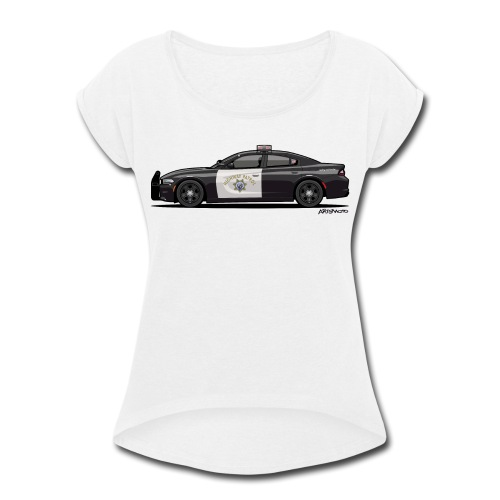 California Highway Patrol Charger Police Car - Women's Roll Cuff T-Shirt
