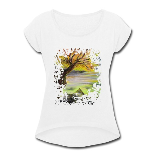 Over Looking Tree - Women's Roll Cuff T-Shirt