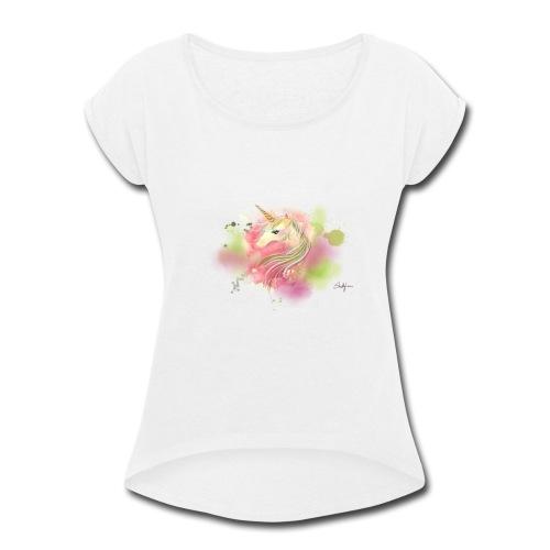 Rainbow Unicorn - Women's Roll Cuff T-Shirt