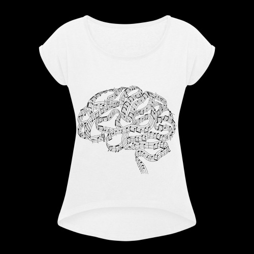 Sound of Mind | Audiophile's Brain - Women's Roll Cuff T-Shirt
