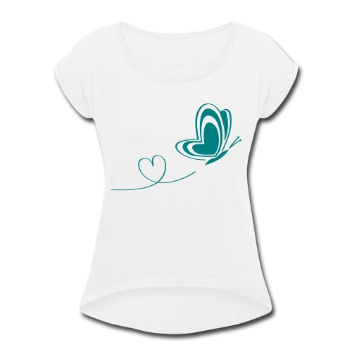 butterfly love heart wings insect - Women's Roll Cuff T-Shirt